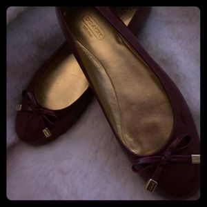 Coach cranberry flats patent leather
